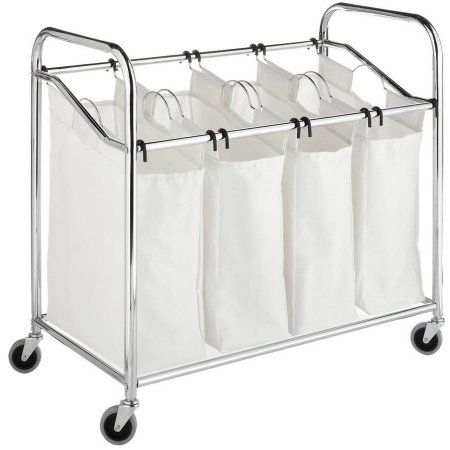 Chrome and Canvas 4-Section Laundry Sorter - Walmart.com