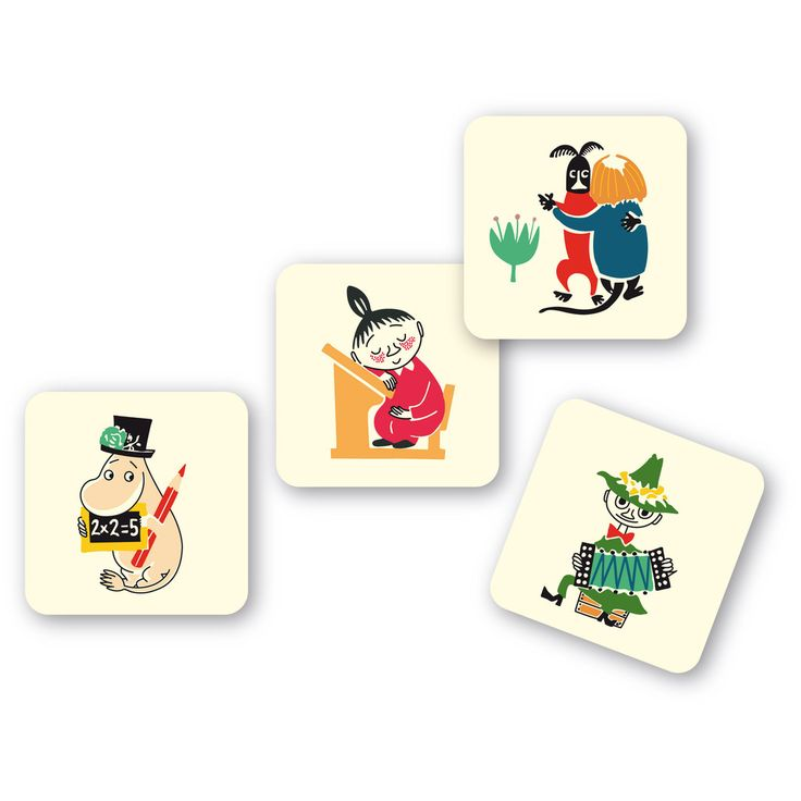 Wonderful creamcolored coasters featuring beloved characters from Moominvalley in different colors. Handmade with a classic motif taken from Tove Jansson's original drawings. High quality wood, made in Sweden. Suitable for the dishwasher, 9x9cm. 4pcs.