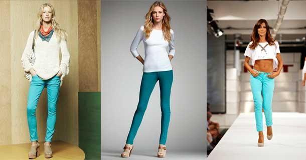 Девушках белые и цветные джинсы нужно