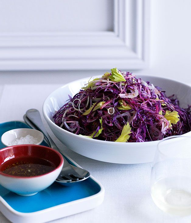 Australian Gourmet Traveller Christmas side dish recipe for red cabbage, apple and celery salad