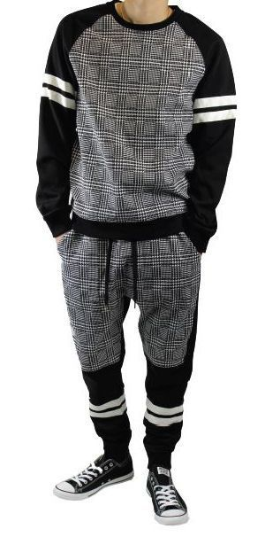 Men's Houndstooth Design Jogger Suit w/ Athletic Stripes! HOT NEW STYLE! #CasualPants