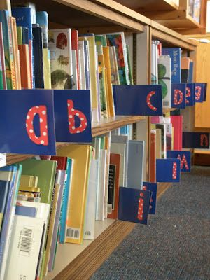 Library Books Shelves With Letter At The Begining
