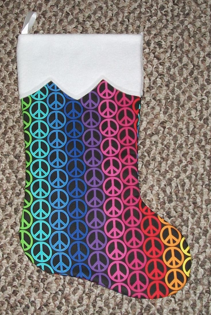 Colorful Handmade Holiday Decor Christmas Stocking Boot Peace Sign Symbol Personalize by UniqCreationCrafts on Etsy