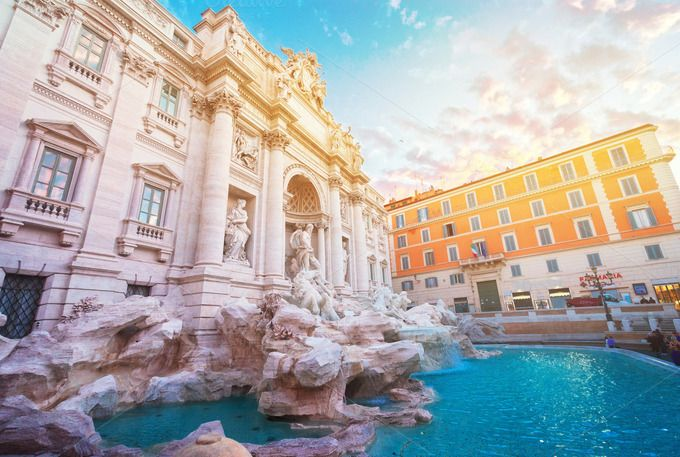 Fountain di Trevi in Rome, Italy by Neirfy on @creativemarket