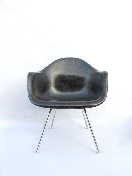 Black fiberglass Eames armchair. ca, 1960