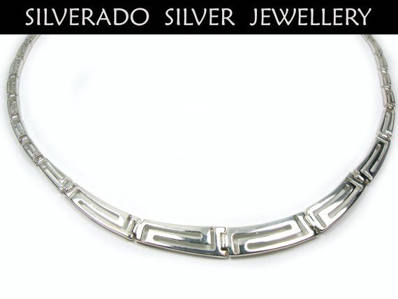 Sterling Silver 925 Ancient Greek Eternity Key Meander Design Gradual Greek Necklace 47 cm 18.33 inches on Etsy, 75,00 €