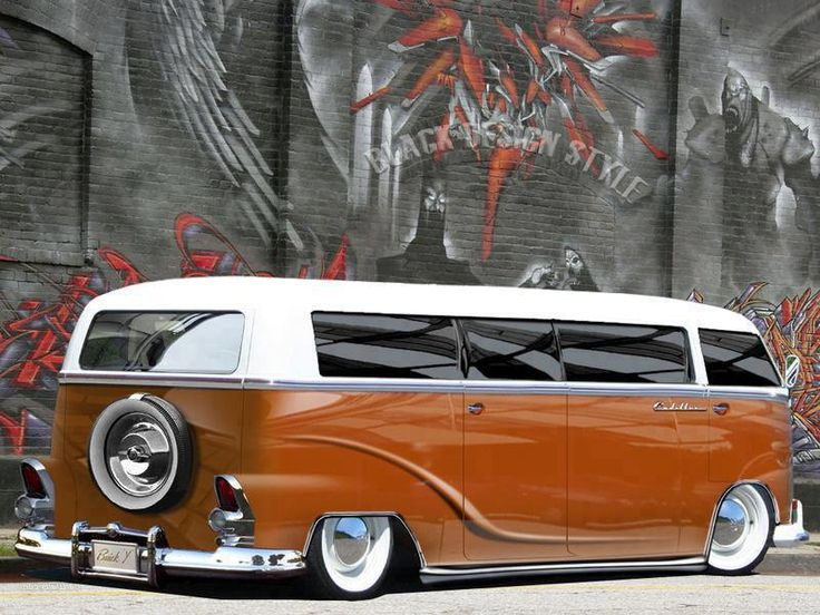 vw bus, awesome concept, I like the 55 Chevy or Olds or Caddy tail-lights incorporated as well as the rear spare. Eloquent, elongated and beautiful.