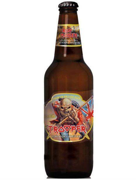 "Iron Maiden ""Trooper"" beer.  It's very good if the like a good pint of proper bitter.  I got two cases ordered from the web, but have since discovered they serve it in one of the local pubs. Result."