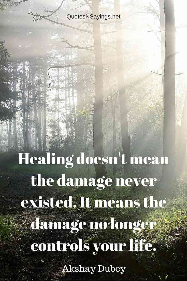 """Akshay Dubey quote about healing - """"Healing doesn't mean the damage never existed. It means the damage no longer controls your life."""" Read more healing quotes here: http://quotesnsayings.net/quotes/category/healing-quotes/"""