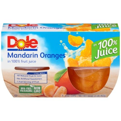 Dole Fruit Bowls®, Mandarin Oranges in 100% Fruit Juice, 4-4 oz. Cups