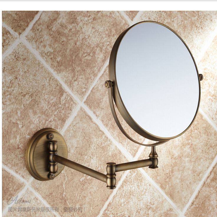 Art Exhibition Wholesale And Retail Bathroom Wall Mount Antique Brass Beauty Make Up Mirror Round Double Sides Mirror Magnifying Mirror