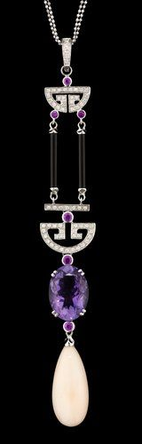 HALSSMYCKE, An Art Deco-style gold, diamond, ruby, onyx, amethyst and .... - Autumn Klassiska sale 554 – Bukowskis