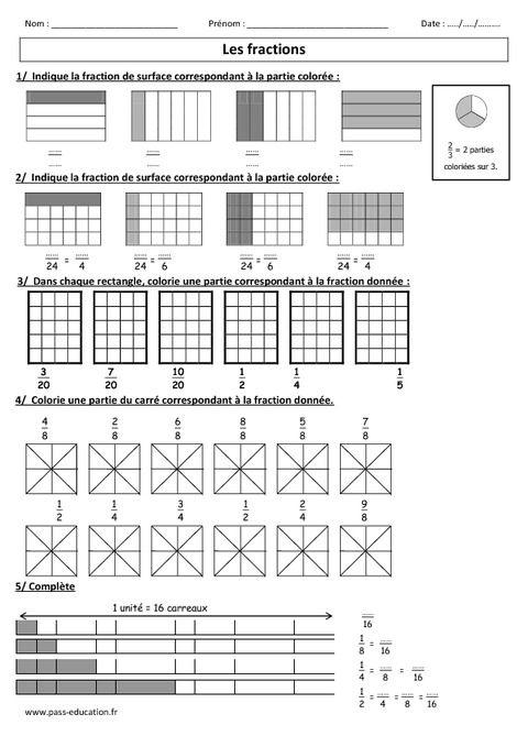 """Résultat de recherche d'images pour """"exercices fractions simples cm1""""   Exercice fraction ..."""