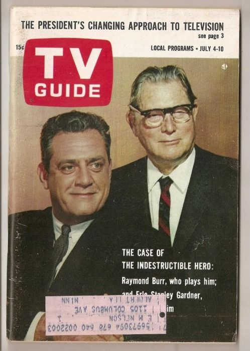 TV Guide. Perry Mason Raymond Burr with Author Earl Stanley Gardner