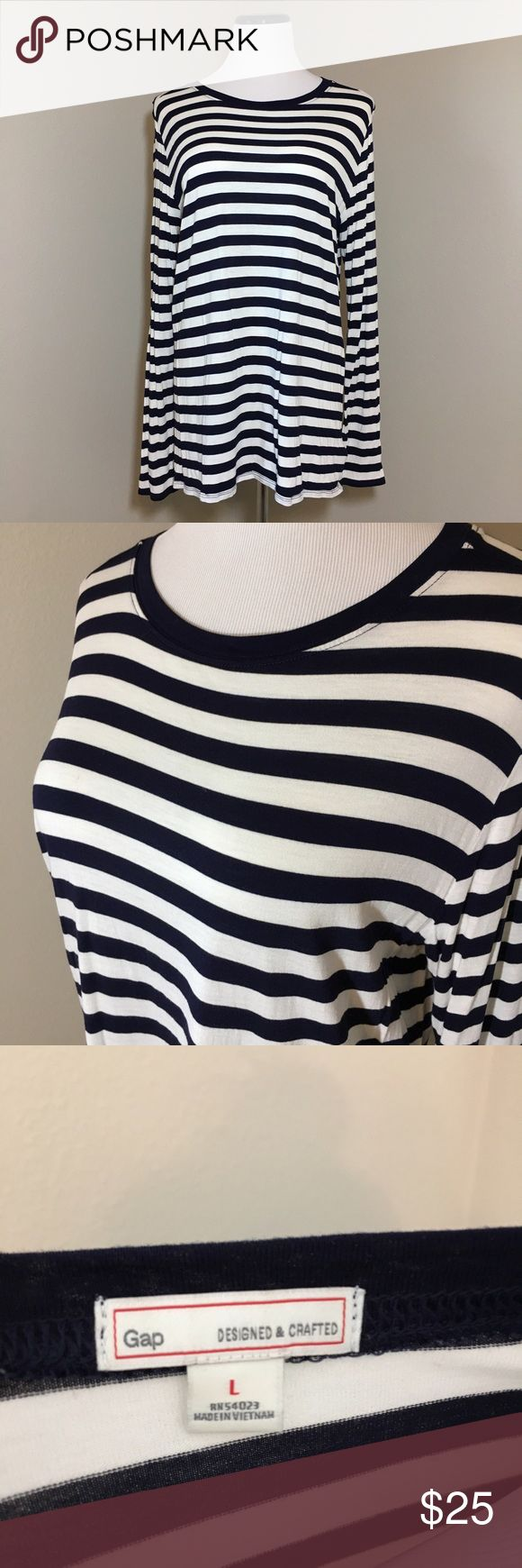 Striped Long Sleeve Shirt Navy and white striped Long Sleeve t-shirt. Worn once and in excellent used condition. Measurements only by request. GAP Tops Tees - Long Sleeve