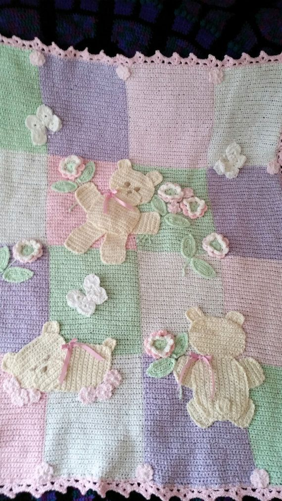 Teddy Bear Crochet Baby Blanket MADE TO ORDER