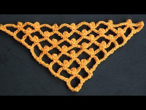 Como hacer el punto red o malla nido de abeja en ganchillo | Net crochet stitch - YouTube