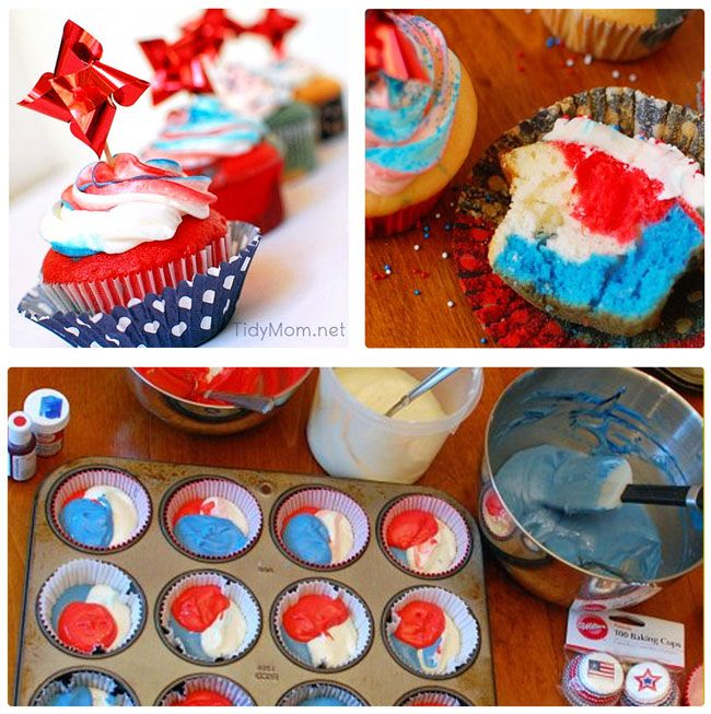 Spark their attention with this Red White and Blue Cupcake Tutorial at TidyMom.net