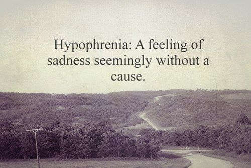 Hypothermia a feeling of sadness seemingly without cause