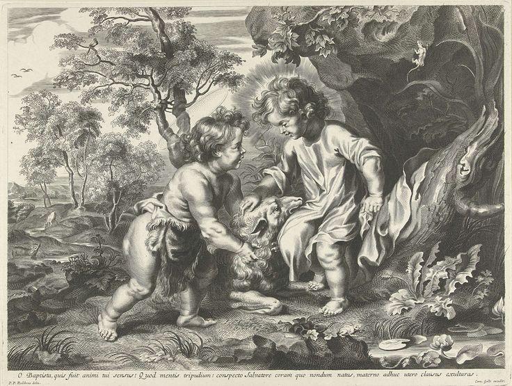Johannes de Doper en Christus als kinderen, Peter Paul Rubens, Cornelis Galle (I), ca. 1630 - 1650