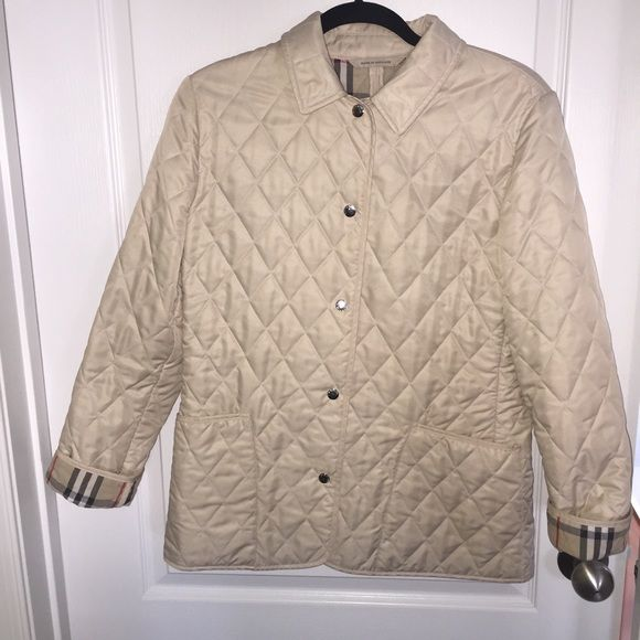Cream Burberry Quilted Jacket Cream Burberry Quilted Jacket. Snap closure. In good preowned condition. Burberry Jackets & Coats Utility Jackets
