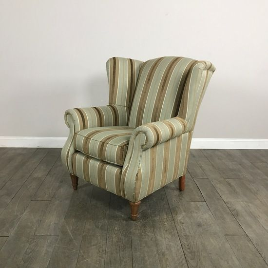 Striped Wingback Chair by Walter E. Smithe - Chicago, IL https://www.marketsquarehome.com/items/striped-wingback-chair-walter-e-smithe