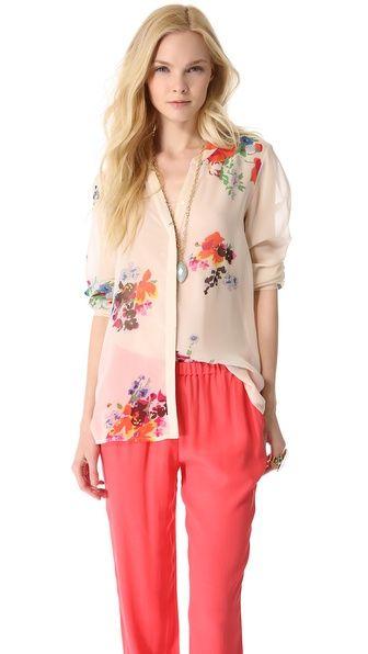 silk floral blouse