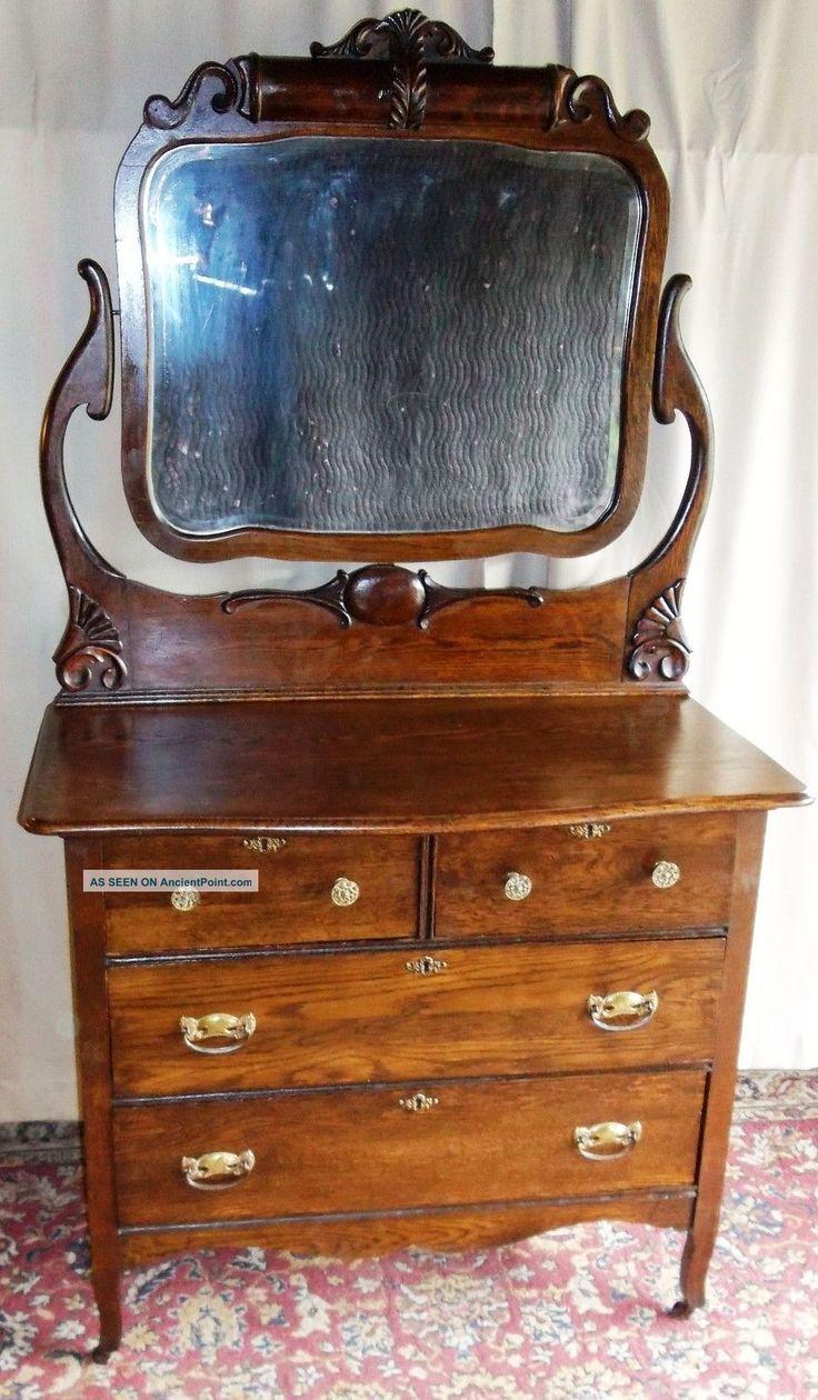 Antique Large Oak 2 Over 2 Drawer Dresser With Tall Framed