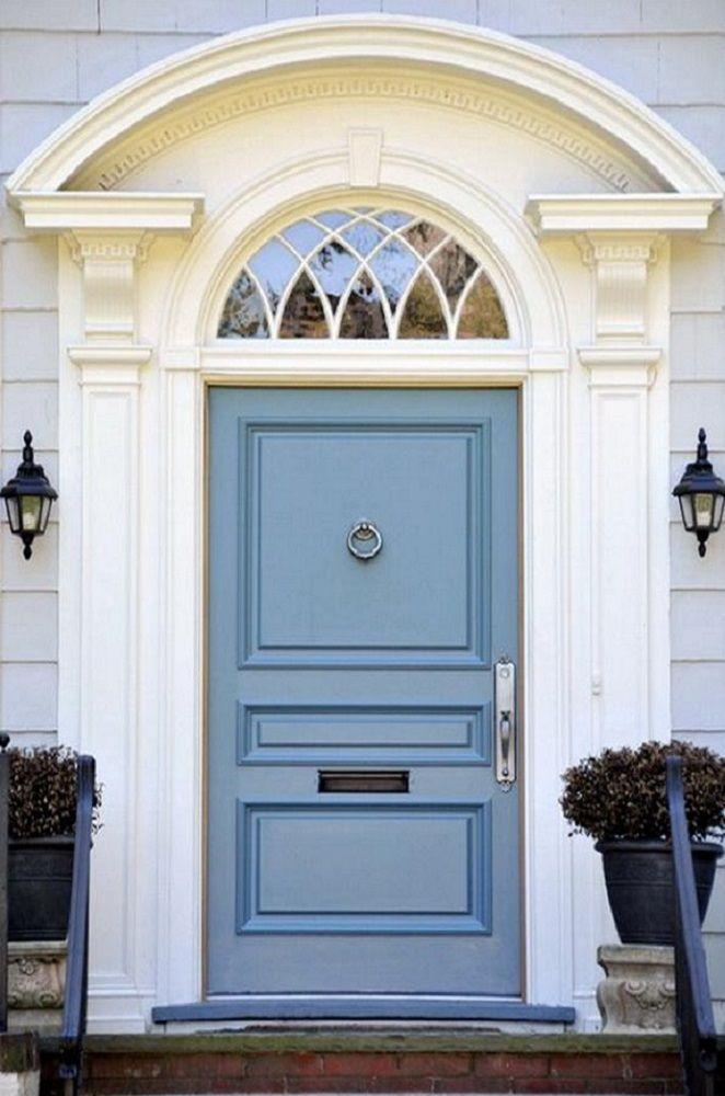 Gray cream with blue gray door exterior color schemes - Blue front door colors ...