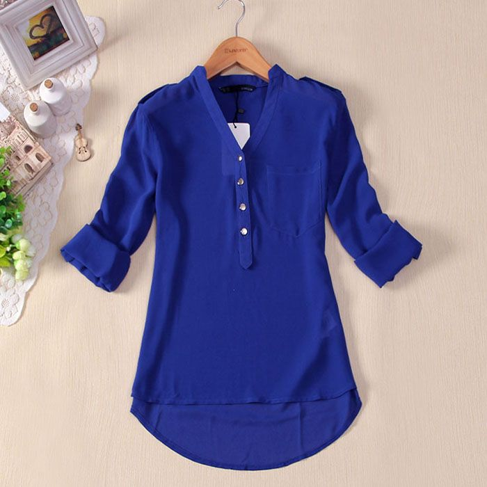 Moodeosa 1PC Women Spring Summer V Neck Chiffon Long Sleeve Casual Shirt Blouse Freeshipping-in Blouses & Shirts from Apparel & Accessories on Aliexpress.com | Alibaba Group