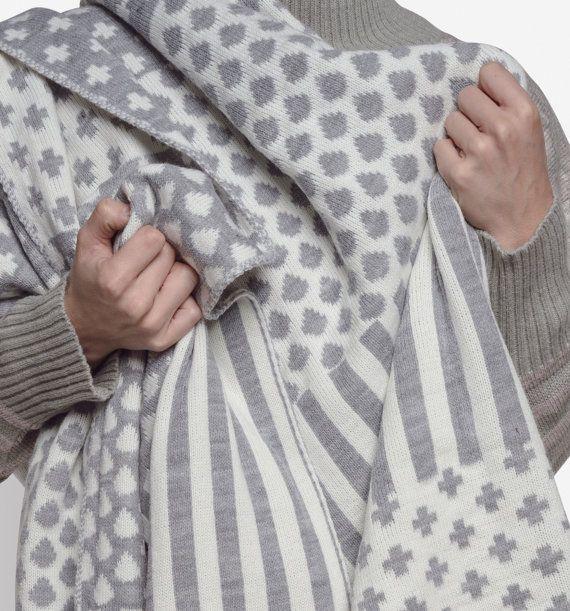 Knitted Wool Blanket Knit Wool Blanket Grey Wool by MinkaInhouse