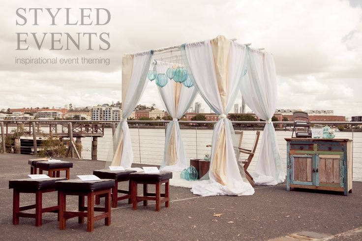 RIVERSIDE NUPTUALS Styled Events at The Jetty [Stewart Ross Photography] #styledevents #brisbaneevents #weddings #eventstyling #seasidewedding #eventhire #bluewedding #casualwedding #seasideceremony #outdoorwedding