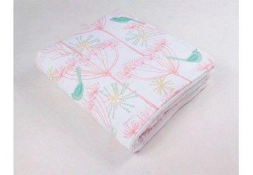 Baby Blanket Mint Birds Chic - 100% ORGANIC COTTON