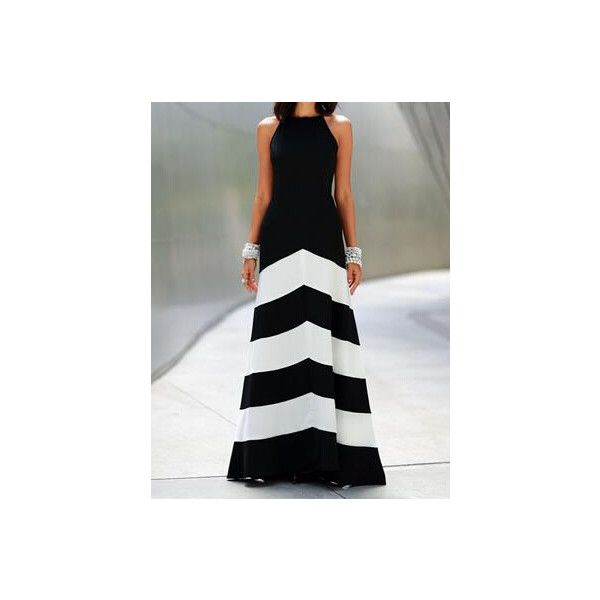 Black White Monochrome Evening Sleeveless Striped Ankle Length Dress (390 MXN) ❤ liked on Polyvore featuring dresses, special occasion dresses, white and black dress, black and white cocktail dress, black and white evening dresses and stripe dresses