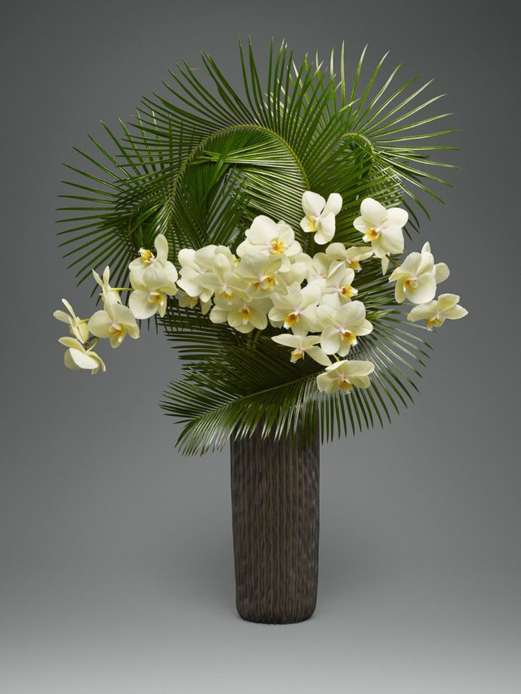 Image result for orchid and palm vase arrangement ...