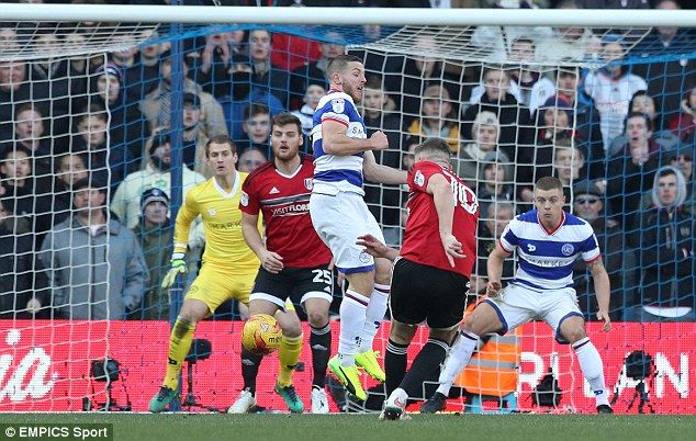 Chris Martin (second from left) scored Fulham's equaliser against Queens Park Rangers
