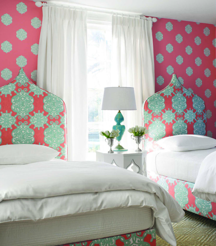 Ivana #wallpaper In #coral And #turquoise, Headboards In Coordinating  Jakarta #fabric Part 86
