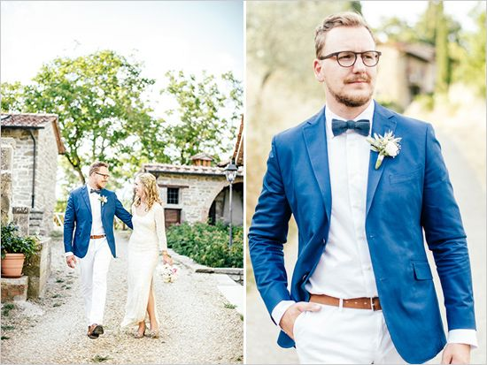 groom in blue and white