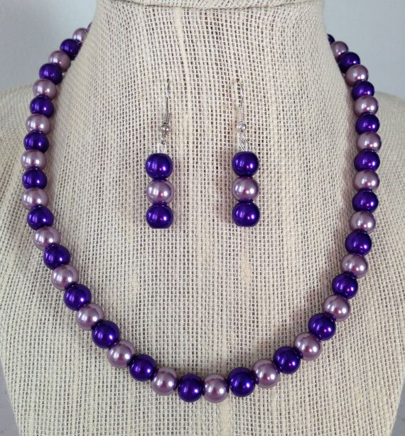 Purple Necklace, Bridesmaid Jewelry, Purple Pearl Necklace, Beaded Jewelry, Purple Wedding, Purple Earrings on Etsy, $24.00