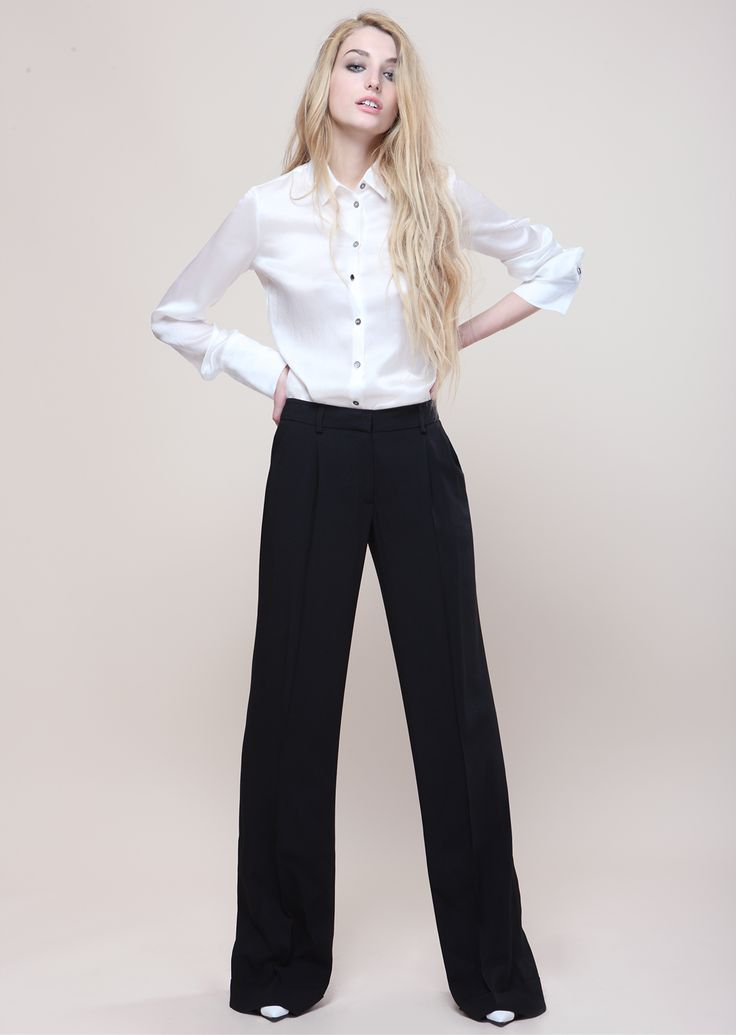 Black trousers and white silk shirt Outfit proudly made in Italy