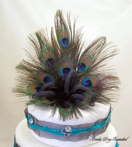 Peacock Feather Wedding Cake Topper  Would by BridesDayRevisited, £34.00