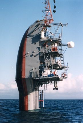 Flip turns 50: Launched in 1962, the bizarre research vessel Flip (Floating Instrument Platform) can go from a horizontal to vertical position while staying afloat and stable in heavy seas - even in 80-foot waves. That allows it to perform oceanographic research measurements with great accuracy. Inside the crew areas is a strange Escher-like world of doors in floors, portholes in ceilings, and tables bolted to walls.