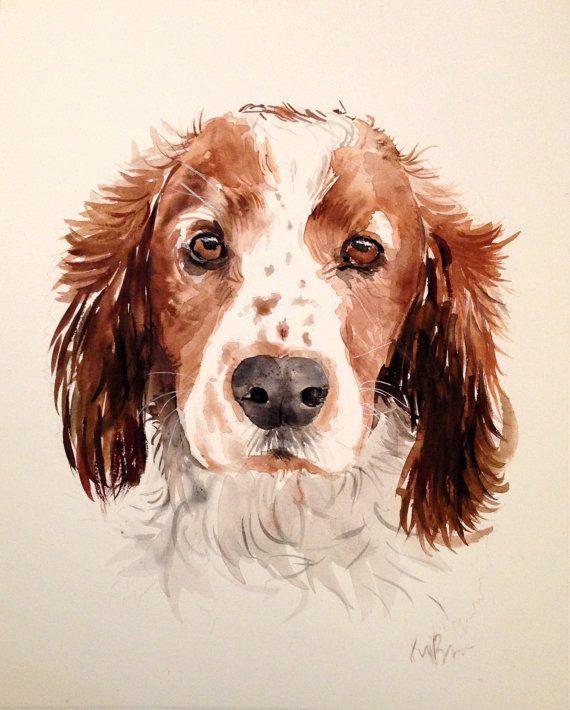 Custom pet portrait. Original watercolor painting. Dog por Kribro                                                                                                                                                                                 Más