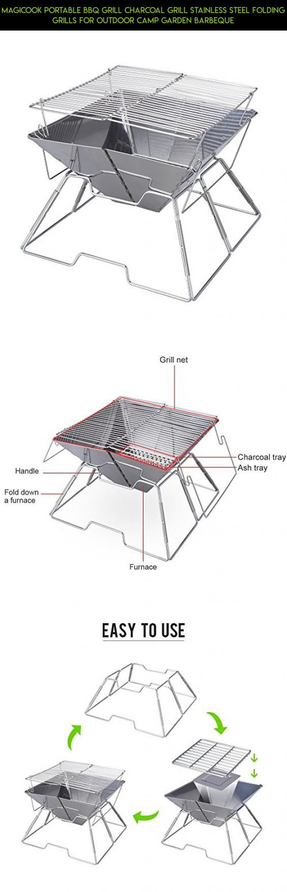 Magicook Portable BBQ Grill Charcoal Grill Stainless Steel Folding Grills for Outdoor Camp Garden Barbeque #kit #plans #technology #products #camera #gadgets #racing #fpv #bar #shopping #cooking #parts #drone #outdoor #tech
