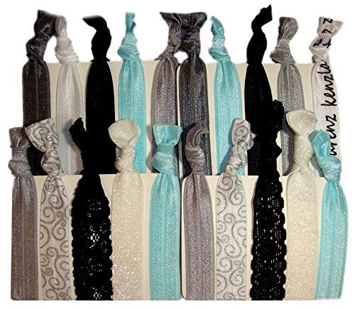 "Hair Ties Ponytail Holders - 20 Pack ""Bridal Lace Silver Glitter"" No Crease Ouchless Elastic Styling Accessories Pony Tail Elastics Holder Ribbon Bands - By Kenz Laurenz Kenz Laurenz http://www.amazon.com/dp/B00PWSIW6E/ref=cm_sw_r_pi_dp_bPl5wb1Q0WW0X"