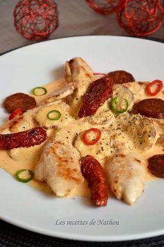 Aiguillettes de poulet sauce crémeuse chorizo