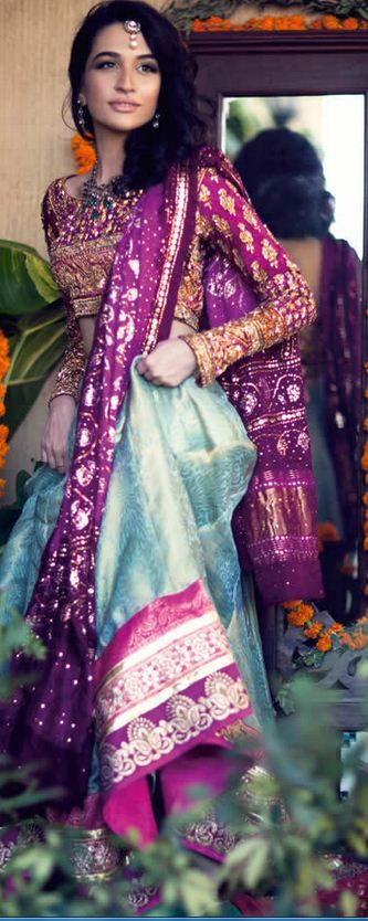 Farah Talib Aziz Spring Summer 2015 Collection. Perfect colour combo for a mehndi dress #bridaldresses