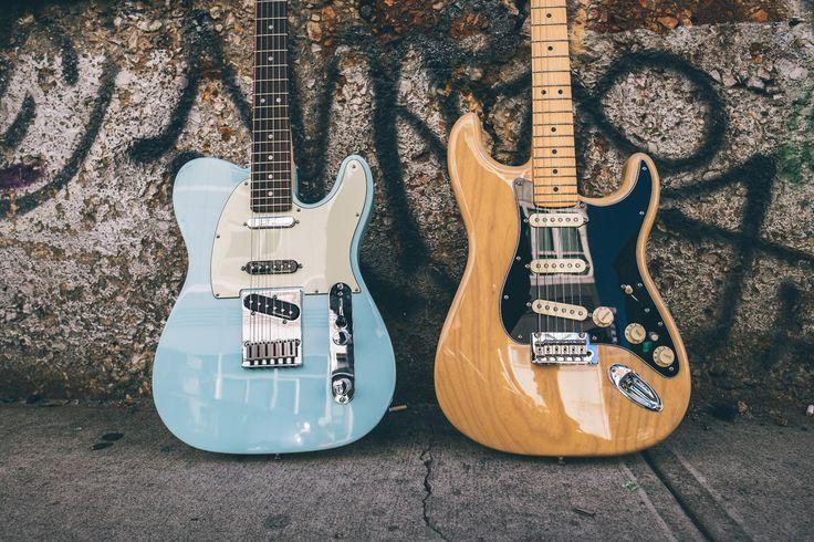 Opposites attract.  #FenderDeluxeSeries #Tele #Strat