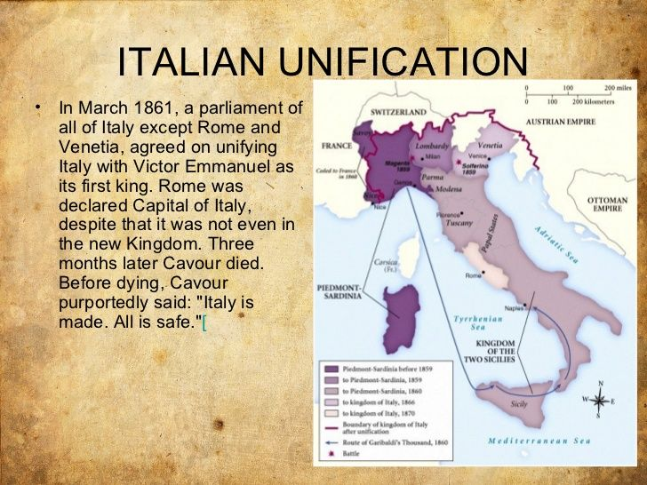 ITALIAN UNIFICATION• In March 1861, a parliament of all of Italy except Rome and Venetia, agreed on unifying Italy with Victor Emmanuel as its first king.