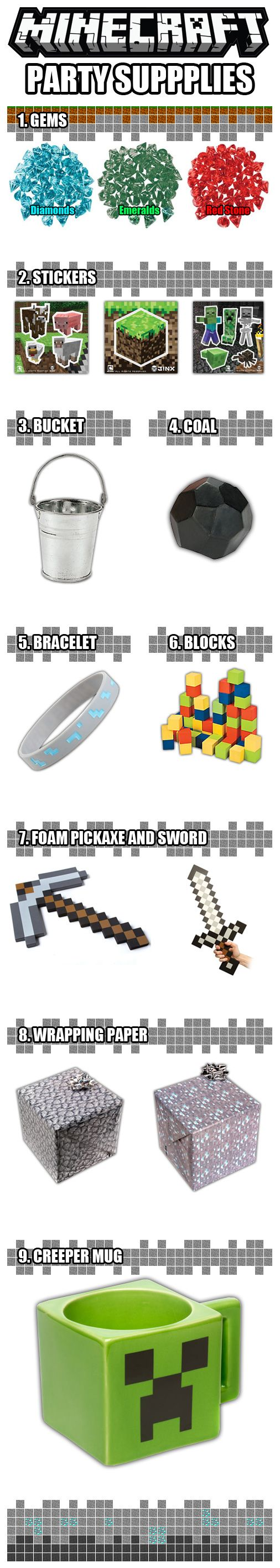 9 Minecraft Party Supplies to Help Build the Perfect Minecraft Birthday! www.DiscountPartySupplies.com